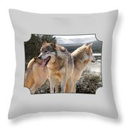 Keeping Watch - Pair Of Wolves Throw Pillow