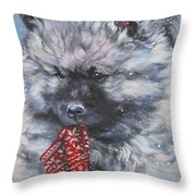 Keeshond Puppy With Christmas Stocking Throw Pillow
