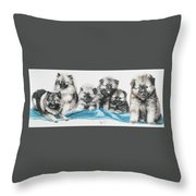 Keeshond Puppies Throw Pillow