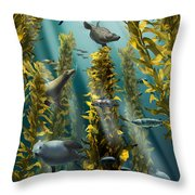 Kelp Forest With Seals Throw Pillow