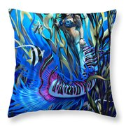 Kelp Mermaid Throw Pillow