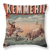 Kemmerich - Bull - Lasso - Old Poster - Vintage - Wall Art - Art Print - Cowboy - Horse  Throw Pillow