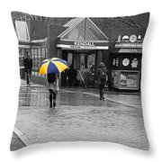 Kendall Square Rainy Day Cambridge Ma Blue And Yellow Throw Pillow