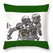Kenjon Barner And Marcus Mariota Throw Pillow by Jeremiah Colley