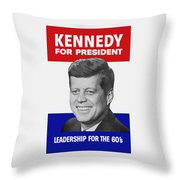 Kennedy For President 1960 Campaign Poster Throw Pillow