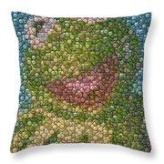 Kermit Mt. Dew Bottle Cap Mosaic Throw Pillow by Paul Van Scott