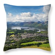 Keswick And Derwent Water View From Latrigg Throw Pillow