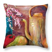 Kettle And Fruit Throw Pillow