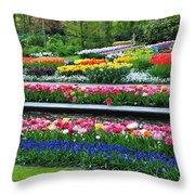 Keukenhof Tulips Ornamental Garden  Throw Pillow