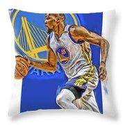 Kevin Durant Golden State Warriors Oil Art Throw Pillow