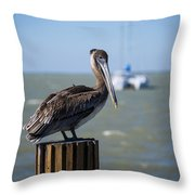 Key Largo Florida Pelican Yacht Throw Pillow