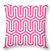 Key Maze With Border In French Pink Throw Pillow