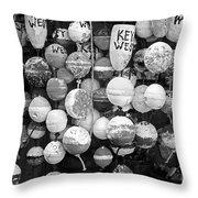 Key West Lobster Buoys Black And White Throw Pillow