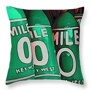 Key West Mile Zero Throw Pillow
