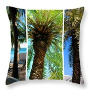 Key West Palm Triplets Throw Pillow by Susanne Van Hulst