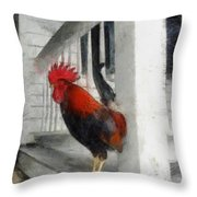 Key West Porch Rooster Throw Pillow by Michelle Calkins