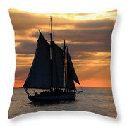 Key West Sunset Sail 6 Throw Pillow