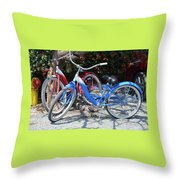 Key West Vintage Bicycles Throw Pillow