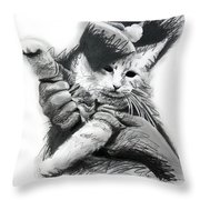Keyboard Cat In Pencil Throw Pillow