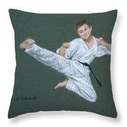 Kick Fighter Throw Pillow