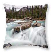 Kicking Horse River Cascades Throw Pillow