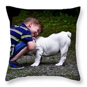 Kid And His Dog Throw Pillow