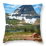Kid And The Bear In Widescape Throw Pillow