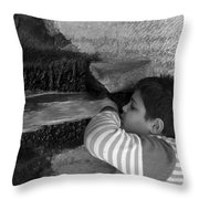 Kid Drinking From The Fountain Throw Pillow
