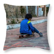 Kid Skateboarding Throw Pillow