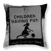Kids At Play Sign Throw Pillow