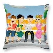 Kids At The Bus Stop Throw Pillow