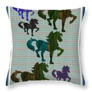 Kids Fun Gallery Horse Prancing Art Made Of Jungle Green Wild Colors Throw Pillow