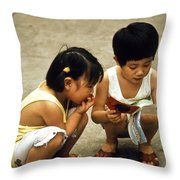 Kids In China 1986 Throw Pillow