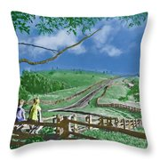 Kids On A Fence Throw Pillow