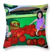 Kids Playing And Picking Apples Throw Pillow