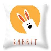 Kids Rabbit Poster Throw Pillow