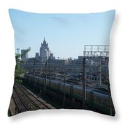Moscow Kievskaya Train Yard Throw Pillow
