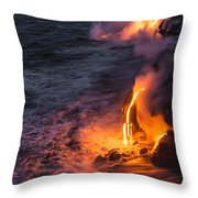 Kilauea Volcano Lava Flow Sea Entry 6 - The Big Island Hawaii Throw Pillow