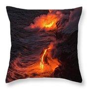 Kilauea Volcano Lava Flow Sea Entry - The Big Island Hawaii Throw Pillow
