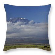 Kilimanjaro With Elephants Throw Pillow