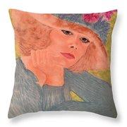 Kim Alexis In Flowery Hat Throw Pillow