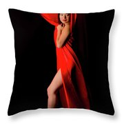 Kim In Red Throw Pillow