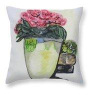 Kimberly's Castellabate Flower Pot Throw Pillow by Clyde J Kell