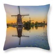 Kinderdijk At Sunset Throw Pillow