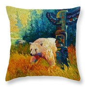 Kindred Spirits - Kermode Spirit Bear Throw Pillow