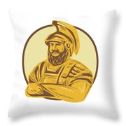 King Agamemnon Arms Crossed Circle Drawing Throw Pillow