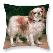 King Charles Spaniel Throw Pillow by George Sheridan Knowles