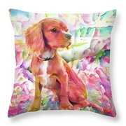 King Charles Spaniel Pastel Watercolors Throw Pillow