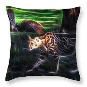 King Cheetah And 3 Cubs Throw Pillow