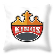 King Crown Kings Retro Throw Pillow